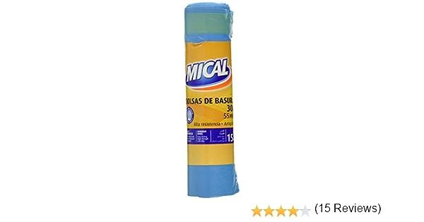 Mical Bolsas de basura, 55 x 60 cm, color azul - 15 Unidades ...