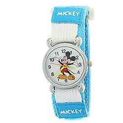TimerMall Kids Mickey Velcro Light Blue Nylon Quartz Analogue Disney Cartoon Time Teacher Watches