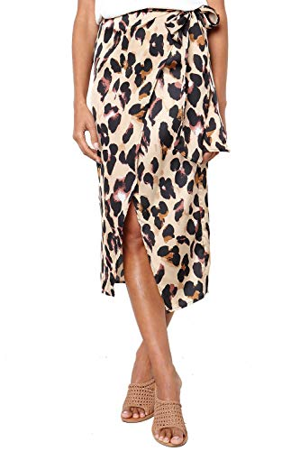 Women's Sexy Leopard Print Wrap Bowknot Tie High Waist Belted Split Midi Skirt