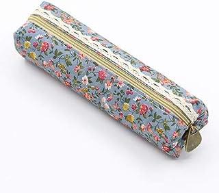 AchidistviQ Sac de Mode Floral en Dentelle avec étui à Stylo et Poche cosmétique Bleu Clair
