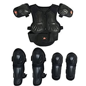 Kids Motorcycle Armor Suit Dirt Bike Chest Spine Protector Back Shoulder Arm Elbow Knee Protector Motocross Racing Skiing Skating Body Armor Vest Sports Safety Pads 3 Colors (Black, S)