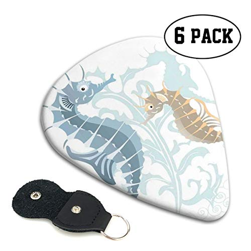 Guitar Picks 6 pcs,Pair Of Little And Big Fishes In Soft Tones Featured Design Tropical ()