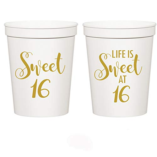 Mandeville Party Company Sweet 16, Life is Sweet at 16-16th Birthday Stadium Cups (10 Cups) ()