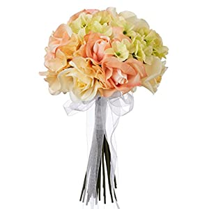 Hydrangea Rose Yellow and Coral Wedding Bouquet for Bride and Bridesmaid - Fake Flowers - Artificial Flowers (Small) 5
