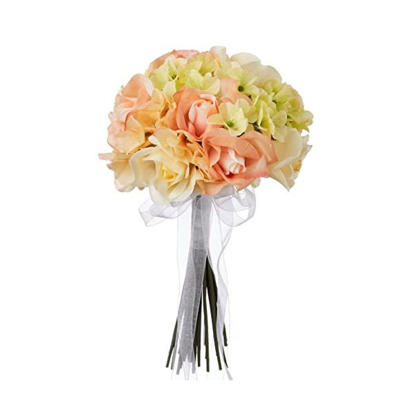 Hydrangea Rose Yellow and Coral Wedding Bouquet for Bride and Bridesmaid – Fake Flowers – Artificial Flowers (Small)