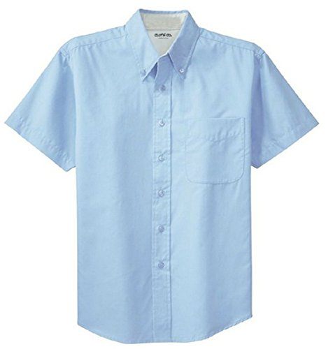 Clothe Co. Mens Short Sleeve Wrinkle Resistant Easy Care Button Up Shirt, Light Blue/Light Stone, L ()