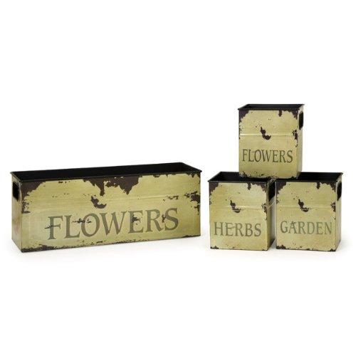 IMAX 4092-4 Tin Flower Planters, Set of 4