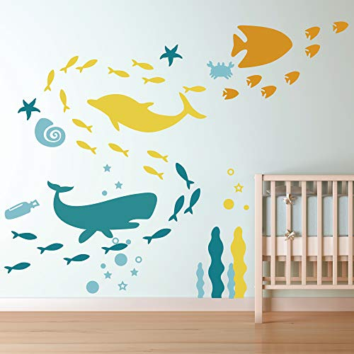 Ocean Wall Decal- Under The Sea Fish Vinyl Wall Stickers for Kids Boys Girls Room Bedroom Nursery Decor