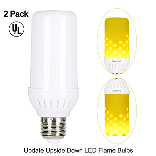 LED Flame Bulbs, HogarTech Flickering Flame Effect Light Bulb E26 Base, UL Listed, Fire Upside Down, Simulated Atmosphere Lighting for Hotel/Pathway/ Festival Decoration - Upgraded Lamp 2 ()