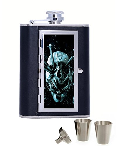 Halloween Final Destination Personalised 6oz black HIP FLASK IN GIFT BOX with funnel and 2 shots best gift ()