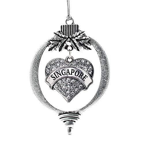 Inspired Silver - Singapore Charm Ornament - Silver Pave Heart Charm Holiday Ornaments with Cubic Zirconia Jewelry (Singapore Tree Christmas)