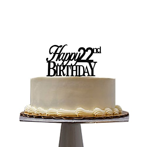 santonila Happy 22nd Birthday Cake Topper Black Acrylic for 22nd Birthday Party décor Cake Topper
