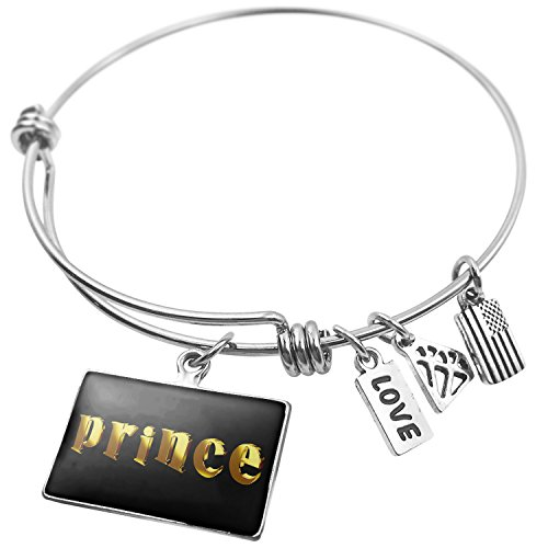 - NEONBLOND Expandable Wire Bangle Bracelet Prince Printed Gold Looking Lettering