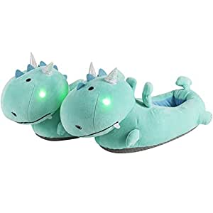 SMOKO Adorable Plush Dragon Slippers with Multicolor Light Up Cheeks by Smoko