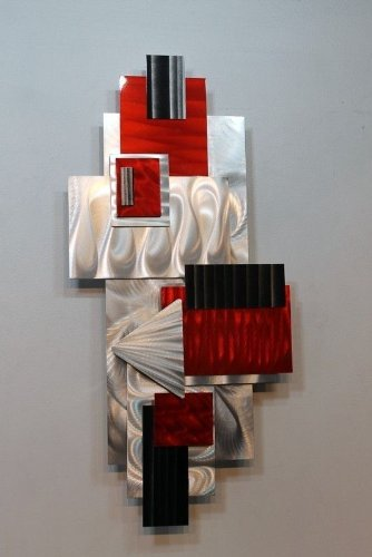 Silver, Red, & Black Geometric Abstract Wall Sculpture ...