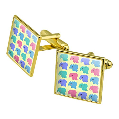 GRAPHICS & MORE Cute Kawaii Baby Elephants Pattern Square Cufflink Set Gold Color