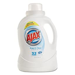 Ajax Ajax 2Xultra Liquid Detergent, Free & Clear, 50oz, Bottle - six bottles.