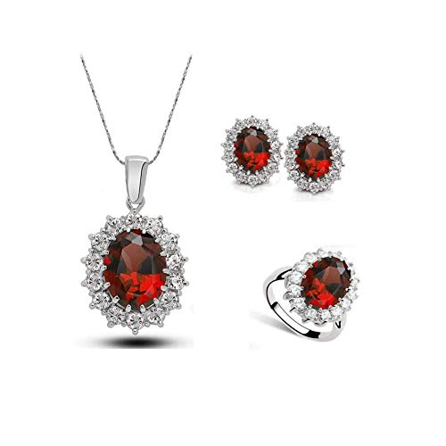 Red Stone Jewel - Wonmax Red Crystal Jewelry Sets Silver Oval Gemstone Earrings Necklace Rings Vinateg Bridal Jewelry