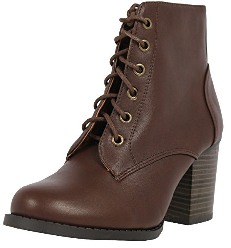 Brown Leather High Heel Boot (Soda Women's Korman Faux Leather Lace Up High Chunky Heel Ankle Booties, Brown, 7.5 M)