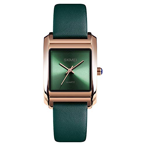 Womens Analog Watches Quartz Wristwatch Business Casual Watch Unique Dress Watch Square Dial Strap Fashion Ladies Cheap Watches on Sale 30M Waterproof (Green)