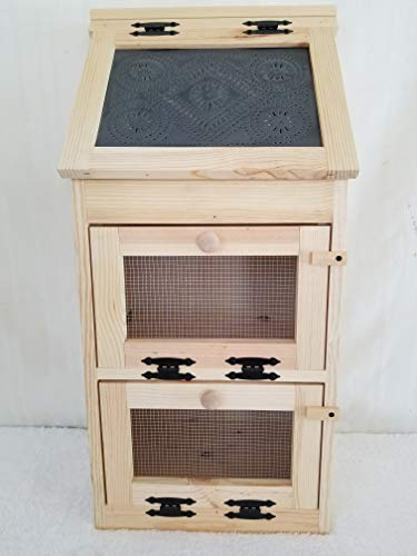 Handcrafted Solid Pine Bread Box with 2 Door Vegetable Bin. The Door Has the Punched Tin Accent. Measures -
