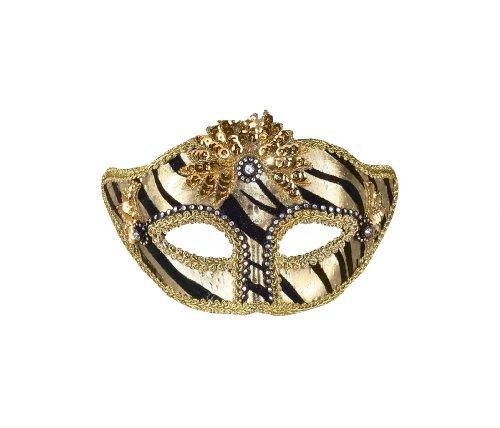 Forum Zebra Venetian Mask, Gold/Black, One (Venetian Mask With Gold Trim)