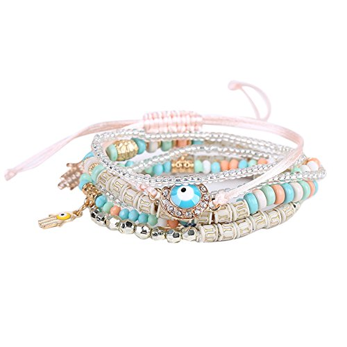 Braided Hamsa Bracelet - TTnight Multilayer Lucky Hamsa Hand Blue Evil Eye Charms Bracelets Bangles (Multicolor)