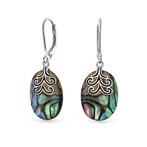 Oval Rainbow Abalone Shell Filigree Swirl Leverback Dangle Earrings 925 Sterling Silver