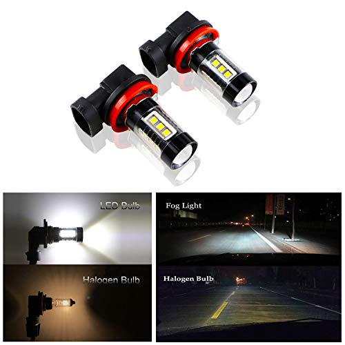 Dantoo 2 x H11 Fog Light H8 H16 LED Bulbs Extremely Bright 6000K High Power 16 SMD LED Bulbs Fog Lamp Replacement for DRL or Fog Lights, Xenon White