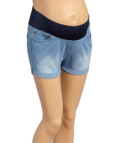 Roll Cuff Denim Short - Sass & Sassy Women's Plus Size Comfort Band Pull On Roll Cuff Denim Shorts (2X, Light)