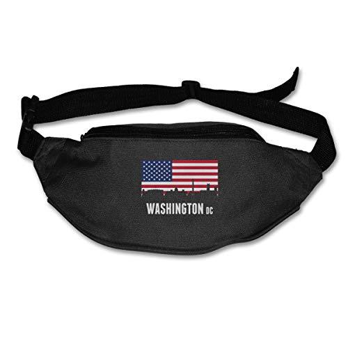 American Flag Washington DC Fashion Sport Waist Pack Pack Adjustable Traveling Men -