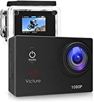 Victure Action Camera 1080P 12MP Waterproof Sports Camera 30M Underwater Diving Camera Action Cam with 170 Wide Angle and Rechargeable Battery