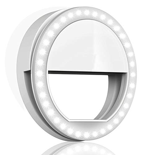 MACTREM 3.5 Selfie Ring Light Phone Camera Photography Video, BatteryPowered Clip White