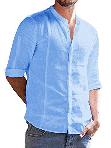 EastLife Mens Cotton Linen Shirts Botton up Summer Casual Long Sleeve Tops (Medium, 1-Sky Blue) ()