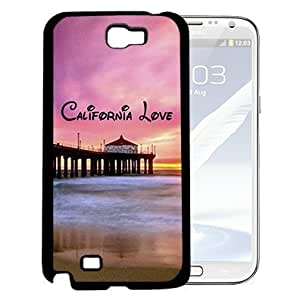California Love with Beach Scene and Pink Sky Sunset (Samsung Galaxy Note II 2 N7100) Hard Snap on Phone Case Cover