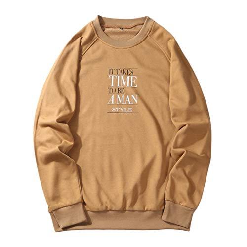Flutter Cuff (vermers Clearance Sale Men's Casual Letter Print Sweatshirt - Mens Leisure Hip Pop Loose Fit Long Sleeve Tops Blouse(M, Khaki))