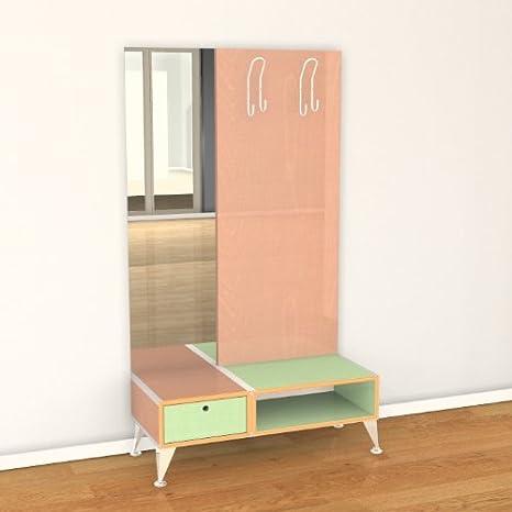 Perchero de madera de roble Señora con espejo 100 x 175 x 42 ...