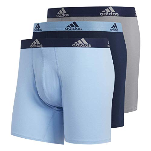 adidas Men's Stretch Cotton Boxer Briefs Underwear (3-Pack), Collegiate Light Blue/Black Grey/Black Collegiate, Medium
