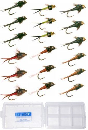 Copper John Fly Fishing Nymph Trout Collection Assortment - 18 Flies + Fly Box by Discountflies