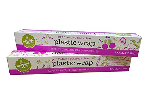 Natural Value Clear Plastic Wrap (Pack of 2 - total of 200 sq ft)