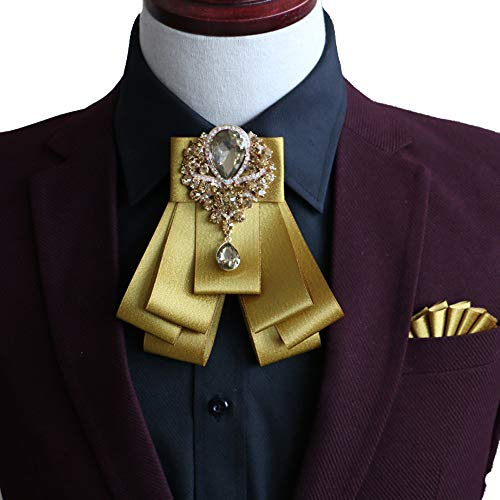 High-grade Rhinestone Women Crystal Bow Brooches Collar Pin Jewelry ribbon Fabric Bowknot (Gold)