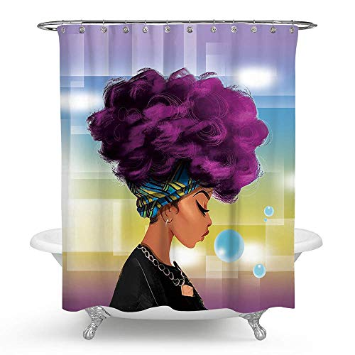ECONIE Women with Purple Hair Afro Hairstyle Bathroom Shower Curtain Waterproof Polyester Blackout Draperies Window Solid Grommet with 12 Hooks for Bedroom Livingroom Bathroom,71 x 71 (7) (Best Hairstyle For Female)
