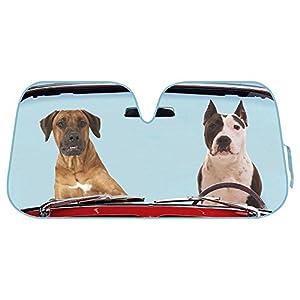 2 Dogs Auto Windshield Sun Shade for Car SUV Truck - Pet Pals - Double Bubble Foil Jumbo Folding Accordion
