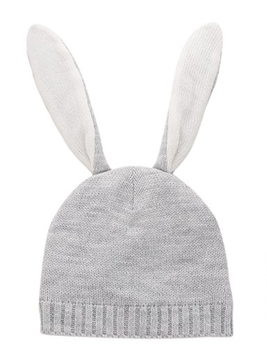 inter Bunny Hat Knit Rabbit Beanie Cap for Baby (12-24 Month, Gray) ()