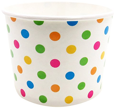 Perfect Stix YogurtCup12-Polka-50 Paper Yogurt Cups with Multi Color Polka Dot Print, 12 oz. (Pack of 50)