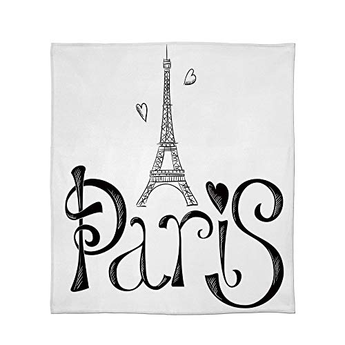 (YOLIYANA Fine Flannel Blanket,Paris City Decor,for Home Travel Camping,Size Throw/Twin/Queen/King,Illustration with Eiffel Tower France Heart Shapes)