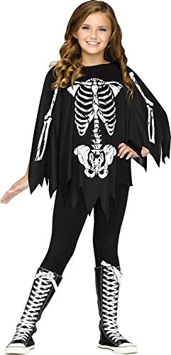 Fun World Little Girl's Poncho Skeleton Ch Costume Up to 14 Childrens Costume, Black, Standard -