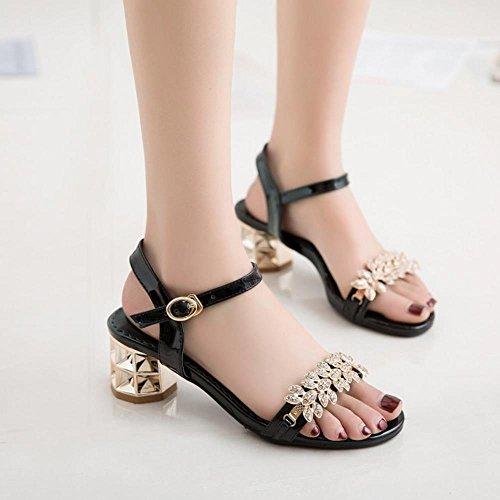 TAOFFEN Women Fashion Open Toe Slingbacks Ankle-Strap Chunky Heel Sandals Black 90kSc1pot