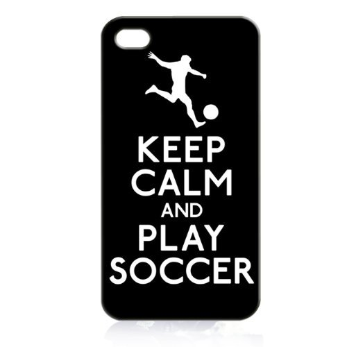 Apple Iphone Custom Case 5 / 5s White Plastic Snap on - Keep Calm and Play Soccer (Soccer Player) Custom Plastic Cases