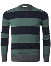Men's Long Sleeve Striped Pullover Crew Neck Sweater